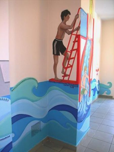 Badepark Wandmalerei Rutsche Treppe